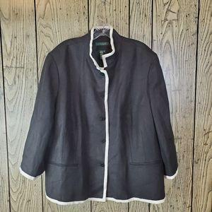 Ralph Lauren Black Tweed Blazer Plus 22W Linen